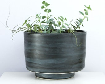 Large Handmade Porcelain Planter with Drain Hole and Catch Plate  - Modern Ceramic Planter in Blue and Black - Cylindrical Pottery Planter