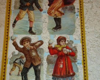 DIE CUTS Four winter children on the ice*Use in art,collage,decoupage,design.Made in England*Beautiful
