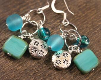 Turquoise czech glass, beach glass and silver charm handmade earrings