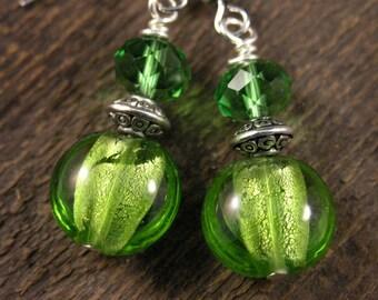Green silver foil glass lentil beads, swarovski crystal handmade silver earrings