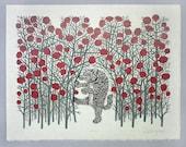 Big Bad Wolf - Woodcut Print, Woodblock Print