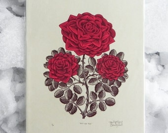 Ruby Red Rose - Woodcut Print, Woodblock Print by Tugboat Printshop