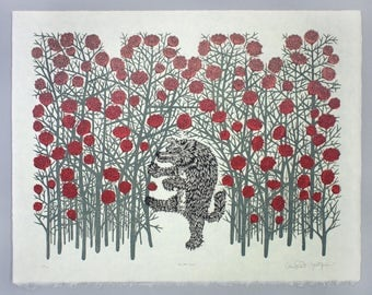 Big Bad Wolf - Woodcut Print, Woodblock Print