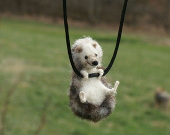 Tiny Hedgehog Necklace or Sculpture - needle felted