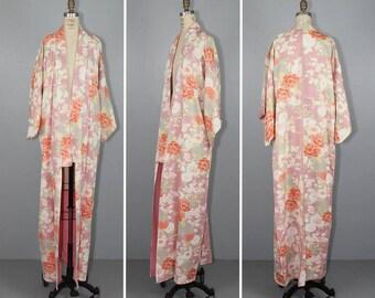 silk kimono / vintage kimono / ROSE BLUSH 1950s antique floral kimono