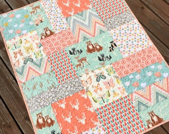 Woodland Baby Girl Quilt Big Block Patchwork Hello Bear Deer Nursery Crib Bedding Butterflies  Mint Peach Forest Animals