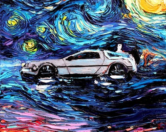 Back to the Future Art CANVAS print Starry Night Delorean van Gogh Never Saw The Future Aja 8x8 10x10 12x12 16x16 20x20 24x24 30x30 32x32