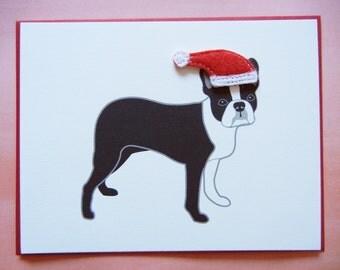Christmas Boston Terrier Santa Holiday Felt Santa Hat Blank Note Card with Envelope