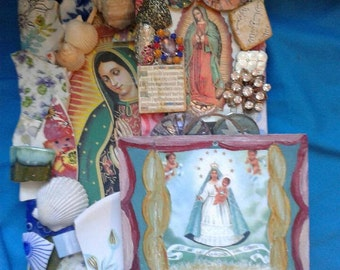 Set of Three Virgin of Guadalupe, Caridad Cobre  Shrines/Altars/Wall Hangings - Featuring Vintage Charms - Sacred Heart - Mosaic Pieces