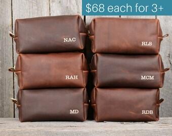 Groomsmen Gifts - Large Arizona Leather Toiletry Bag with Monogram - 15% discount for orders of 3+ - wedding gift groomsmen groom