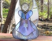 Pale Purple Iridescent Stained Glass Angel, Stained Glass Candle, Stained Glass Angel Candle Shelter - Soft Violet Sweetheart Angel