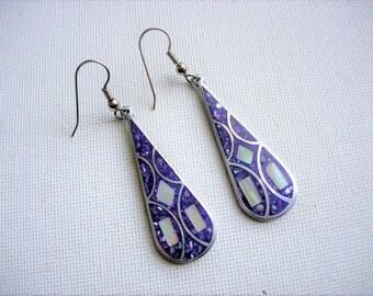 Beautiful Vintage Inlaid Abalone Shell Earrings-Purple