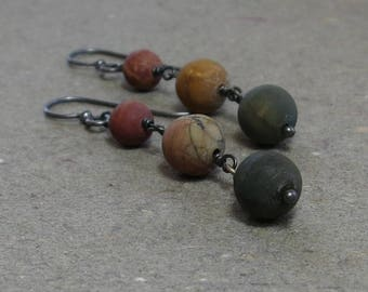 Red Creek Jasper Earrings Long Earthy Dangle Black Oxidized Sterling Silver Gift for Her