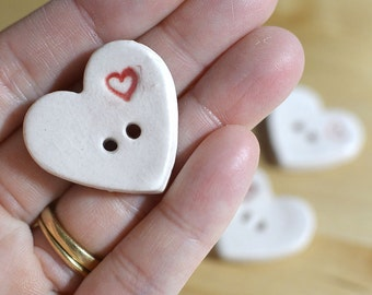 Porcelain Heart Buttons -- Set of Four