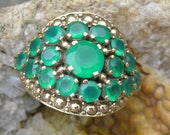 Vintage Nicky Butler solid bronze and green chalcedony  ring size 10