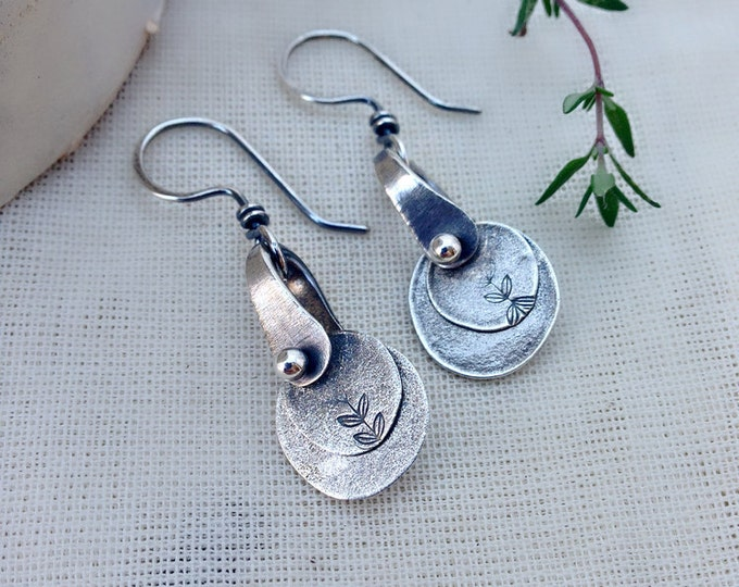 Sterling Silver Handstamped Double Disc Vine Earrings Petite, Small