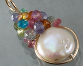 White Coin Pearl  & Multi Stone Wire Wrapped Pendant