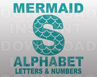 Mermaid Font SVG File,Mermaid Alphabet SVG File,Mermaid Letters SVG - Commercial & Personal Use - Vector svg file,Cricut,Silhouette Cameo