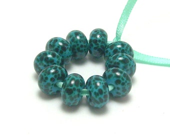 Dark Teal and Dark Turquoise - Handmade Lampwork Glass Beads SRA