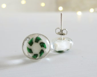 Earrings, Small Glass Earrings, Post Earrings, Handmade Fused Glass Earrings, Sterling Silver Posts, Unique Earrings, Green Earrings