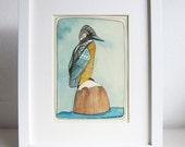 Art - King Fisher Painting - Bird Illustration - Sea Bird Art Painting - King Fisher Watercolor Painting - Original Art - King Fisher