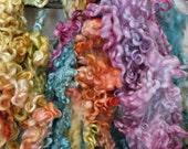 Teeswater Wool Fleece - Hand Dyed Curls - Pink, Orange, Yellow, Blue, Green Locks - Princess BubbleNoodle