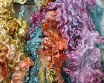 Teeswater Wool Fleece - Hand Dyed Curls - Pink, Orange, Yellow, Blue, Green Locks - Princess BubbleNoodle