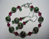 Ruby Agate Gemstone Green Bracelet Agate Earrings Swarovski Crystal Leverback Hooks Silver Accents Wire Wrapped gifts under 10