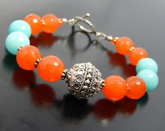 Orange, Blue Bracelet, Beaded Jade Bracelet, Bali Silver, Tangerine Orange, Baby Blue Jewelry