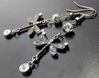 Silver Dragonfly Earrings, Rhinestone Gunmetal Dangles, Nature Jewelry