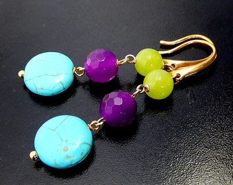 Howlite Turquoise Earrings, Colorful Jade Earrings, Gold Vermeil Jewelry, Lime, Purple, Blue