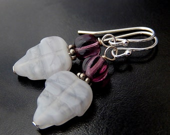 Purple Leaf Earrings,  Boho Glass Leaves,  Simple Pale Lavender Dangles
