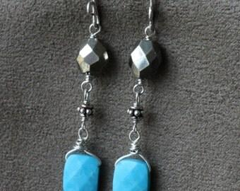 Sleeping Beauty Turquoise Earrings, Pyrite Earrings, Sterling Silver Earrings, Gemstone Earrings, Wire Wrapped Earrings, Wire Wrapped Jewels