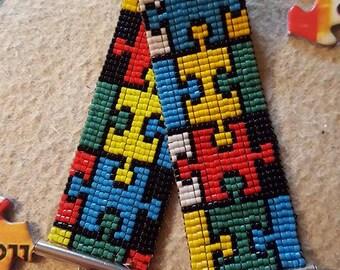 Multicolor jigsaw puzzle bracelet