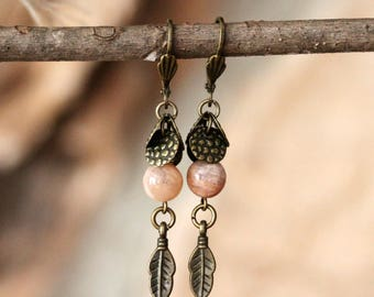 Peach Sunstone and Antiqued Brass Dangling Feather Earrings, Peach Earrings, Feather Earrings, Vintage Inspired, Summer Jewelry, 1.5 inches