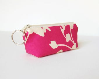 Mini Zipper Pouch with Key Ring, Lip Balm Holder, Change Purse, Ladies, Girls, Pink Coriander, Amy Butler