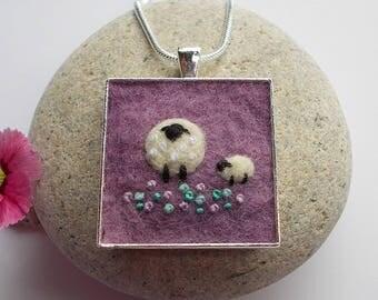 Sheep Pendant Necklace Handmade Felt Jewelry Lilac