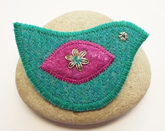 Harris Tweed and Felt Bird Brooch Pin
