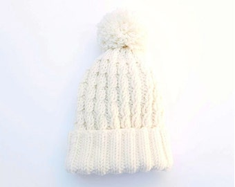 Merino Wool Cable Hat / Beanie with Pompom. Child / Baby. Hand Knit. Soft Cream / Ivory White. Fall / Winter.