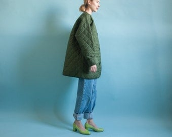 army green quilted liner jacket / oversized jacket / puffy coat / s / m / l / 842o / B21