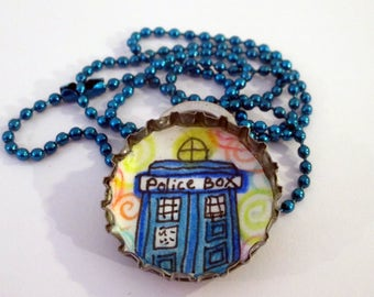 Bottle cap Necklace - Doctor Who Tardis Police Box - Original Drawing illustration, tv geek gift, ball chain, Recycled