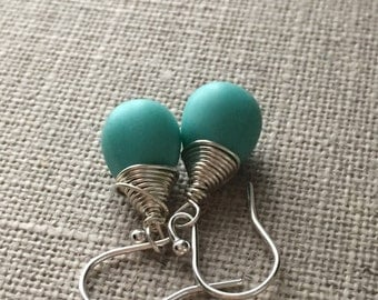 Turquoise Earrings. Sterling Silver Earrings. Matte Turquoise Drop Earrings. Teardrop Earrings. Wire Wrapped Earrings. Briolette Earrings
