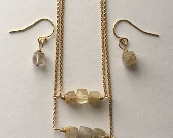 Golden Rutilated Quartz Cube Necklace Bracelet Earrings Jewellery Set. 14k Gold Filled Gemstone Jewellery Set Gift For Her. Wedding Jewelry