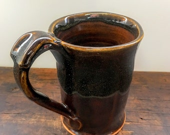 Brown and Black Square Mug with  Thumb Rest Wheel Thrown Clay Pottery Ready To Ship