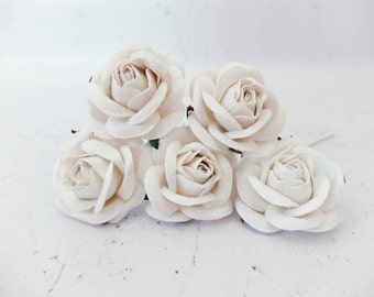 5 50mm/2 inches white mulberry roses