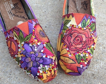 Wedding Flat Shoes, Custom Toms, Floral Toms, Bridal Shoes, Painted Toms, Shoes for Bride, Wedding Toms Shoes, Fall Colors, Flowers, toms