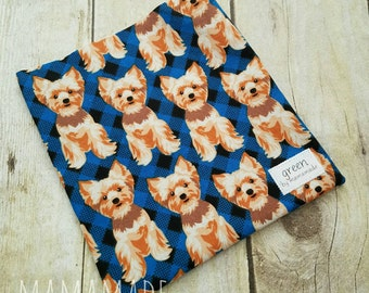 Terrier on Plaid - Reusable Sandwich Bag   Snack Bag   Waterproof   Travel Bag from green by mamamade