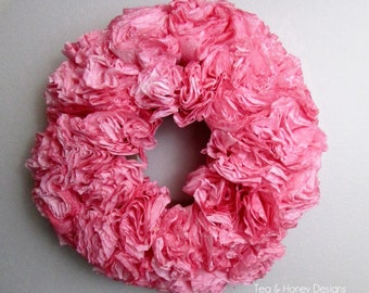 Dark Pink Paper Wreath, Coffee Filter Wreath, Baby Girl Nursery, Wedding, Christmas, Party Decor