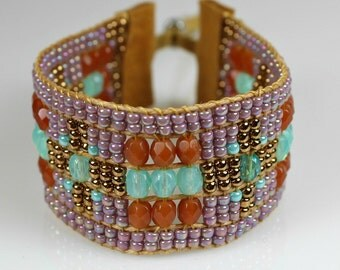 Beaded Loomed Bracelet with Turquoise, Rust and Purple Fire Polished Crystals