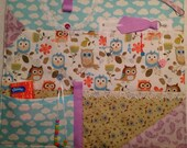 Owls Dementia Fidget Quilt Alzheimer's Activity Sensory Stroke TBI Fiddle Mat/lap warmer Pad Busy Blanket Beads Pockets Zipper Owl lace